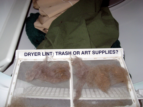 I'm keep thinking about the uses for dryer lint. This is related to dust bunnies in a way. We generate so much lint and we keep throwing it out. Sure, sometimes we put it in the compost or toss it outside for the birds to add to their nests. But what about art. What about lint as a statement?