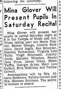 Mina Schuyler recital newspaper clipping