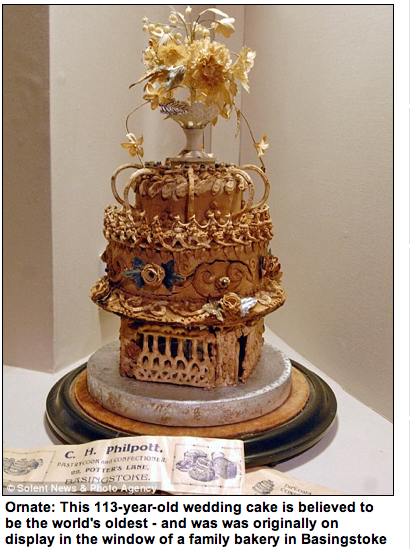 Is this the world's oldest wedding cake? Creation made in 1898 even survived World War II bomb blast By DAILY MAIL REPORTER Read more: http://www.dailymail.co.uk/news/article-1356557/Worlds-oldest-wedding-cake-1898-survived-WW2-bomb-blast.